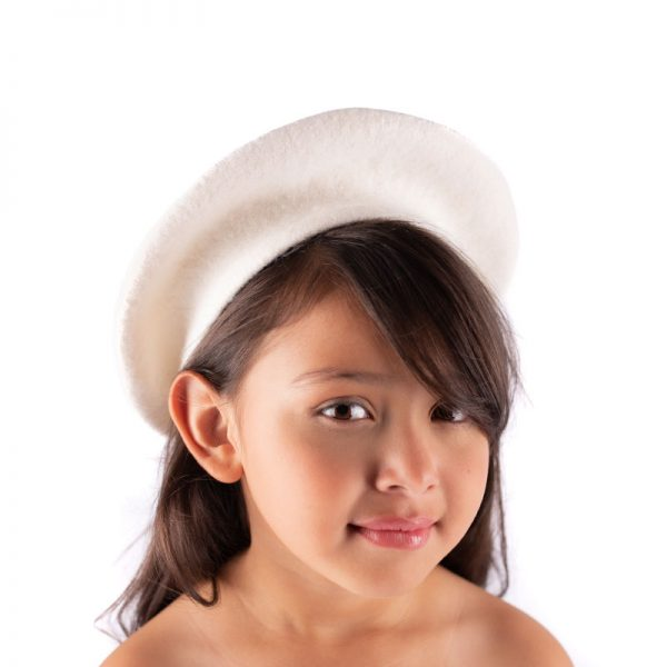 Little Lady B - French Style Beret Hat White 1