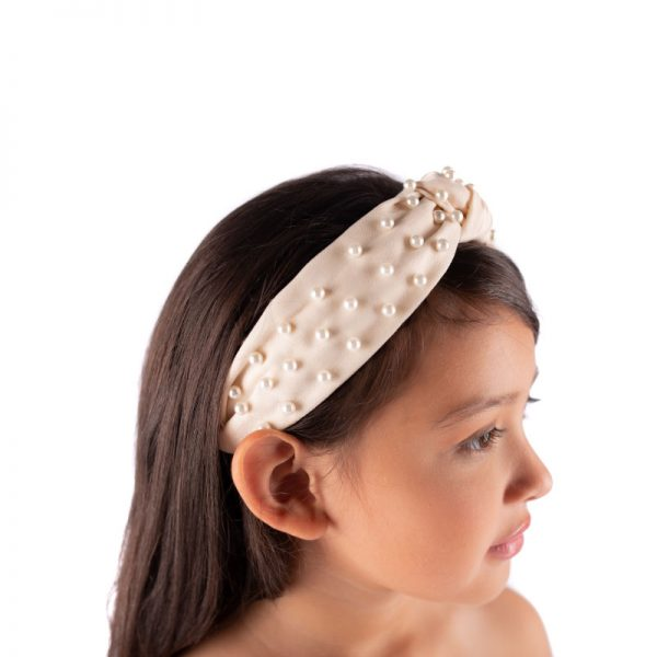 Little Lady B - Knot Headband Pearl Bone